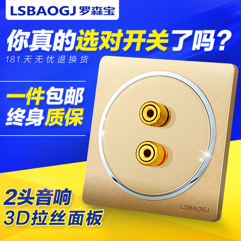 Rosen treasure wall switch socket two stereo audio jack socket panel champagne diphonia frequency socket 86 concealed
