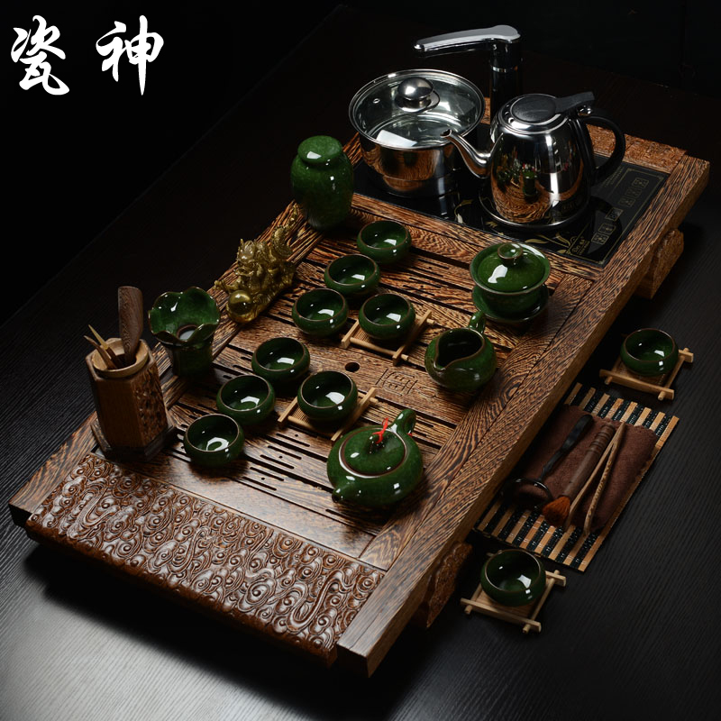 Rosewood ebony wenge entire tea set four cooker binglie kung fu tea set purple sand