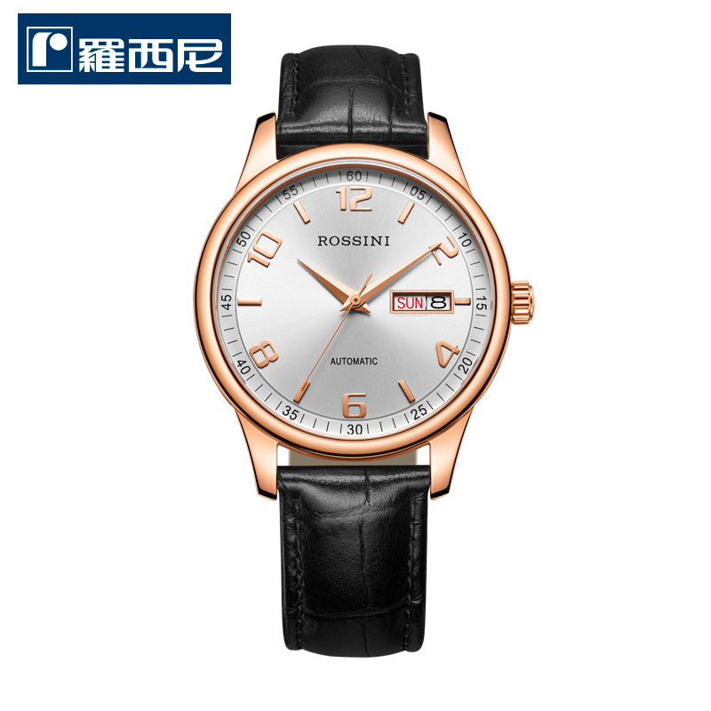 Rossini watch stainless steel rose gold mechanical male watch lovers watch business men watch double calendar 9507/female form 7508
