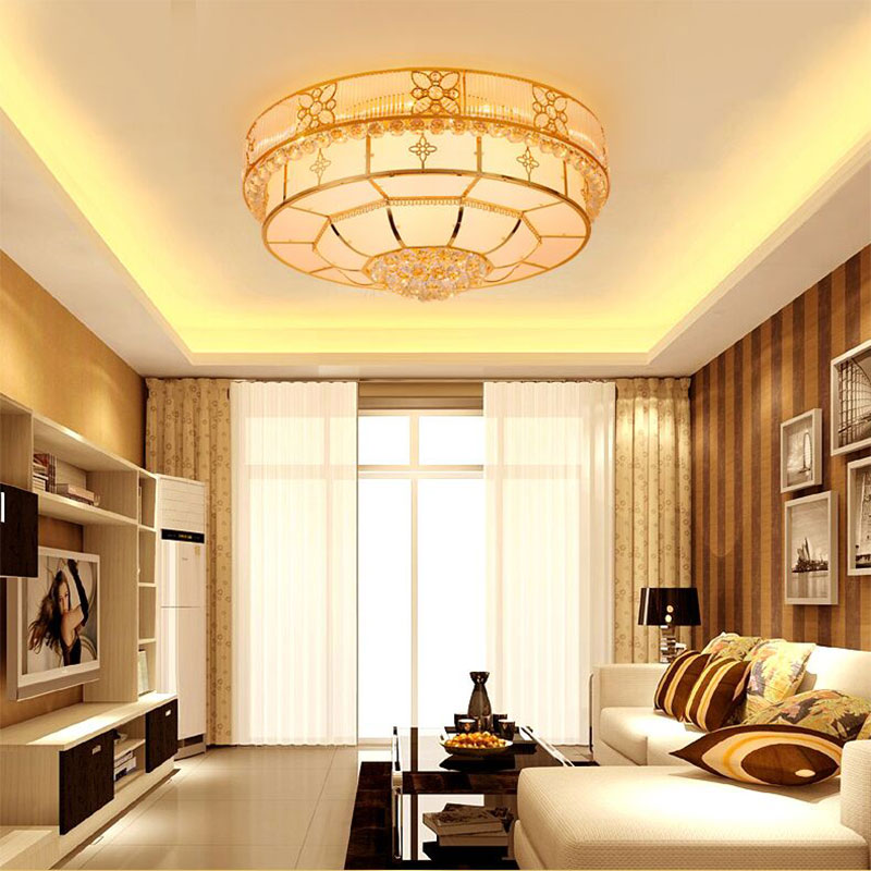 Round crystal lamp ceiling lamp modern living room lights led lamps golden atmosphere bedroom lamp lighting lamps restaurant