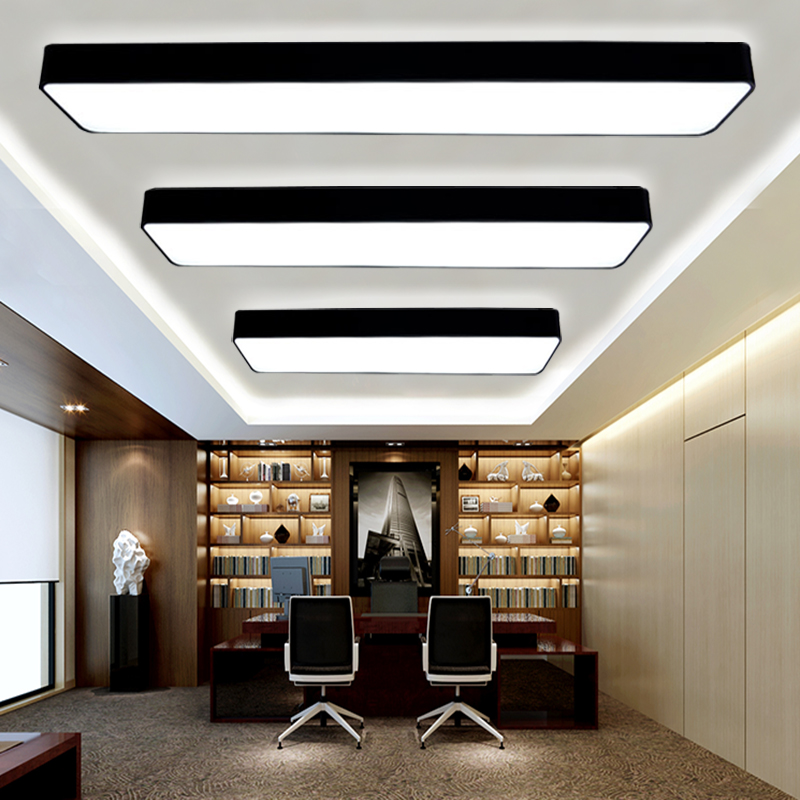 Rounded aluminum led office commercial lighting ceiling with modern rectangular office floor