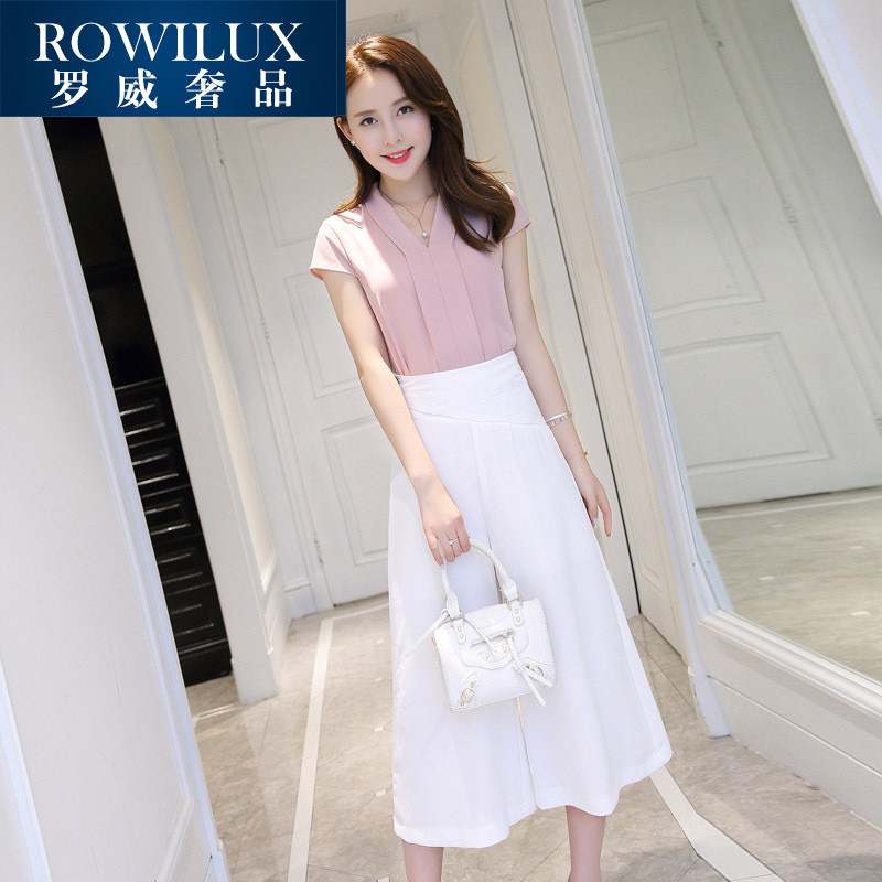 ROWILUX2016 summer new fashion women suit small fragrant wind korean version of a solid color piece pants wide leg pants