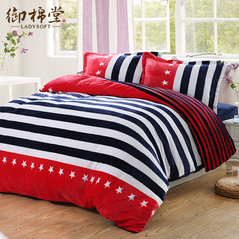 Royal Hall Cotton Flannel Thick Warm Bedding A Family Of Four Coral Velvet  Sheets Law Levin