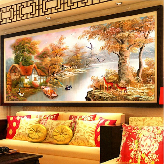 Royal ks printing stitch world famous paintings painting autumn warm house cabin wind landscape stitch substantial living room