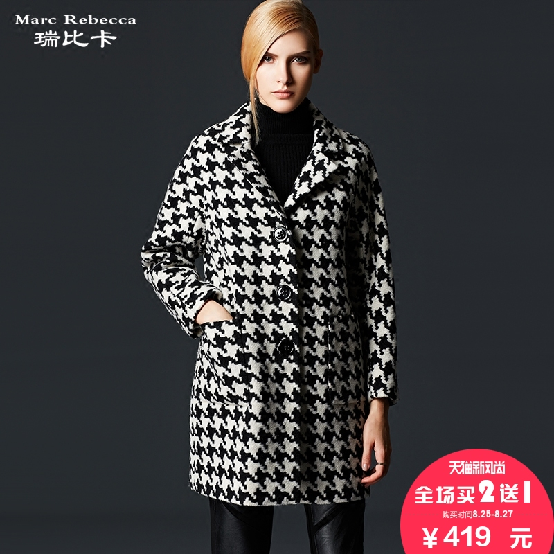 Rui bika brand wool coat 2016 winter new european and american high houndstooth wool coat girls long paragraph