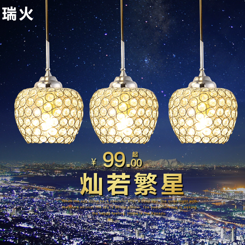 Rui fire led restaurant lights crystal chandelier three single head of creative modern minimalist dining room table lamp light bar lighting lamps