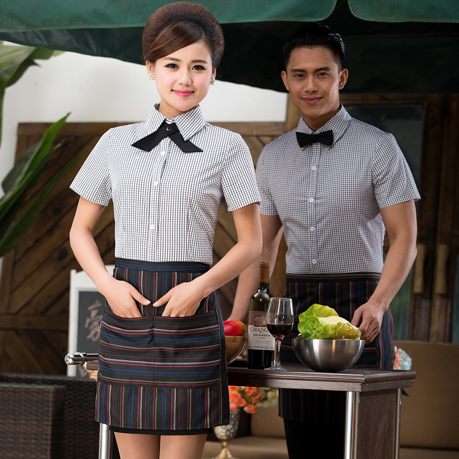 Rui rong chi shing hotel waiter overalls overalls summer hotel restaurant waiter uniforms hotel uniforms sleeve short sleeve dress