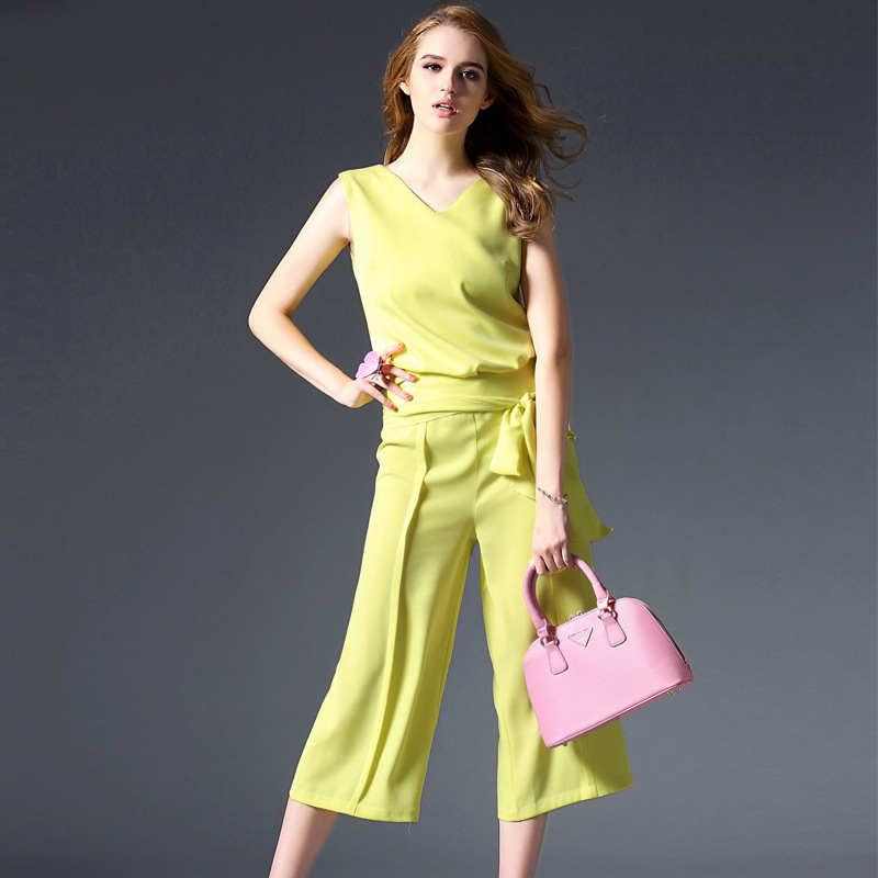 Ruibei la 2016 summer new women's european leg of simple sleeveless v-neck shirt + wide leg pants suit fashion