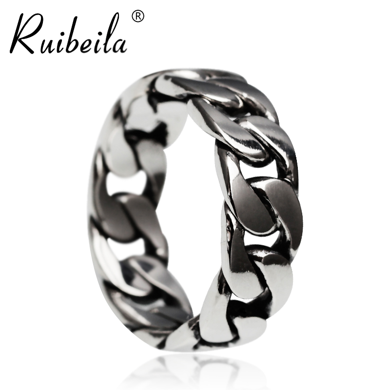 Ruibeila925 silver chain ring male and female models fashion silver couple rings personalized rings thai silver necklace