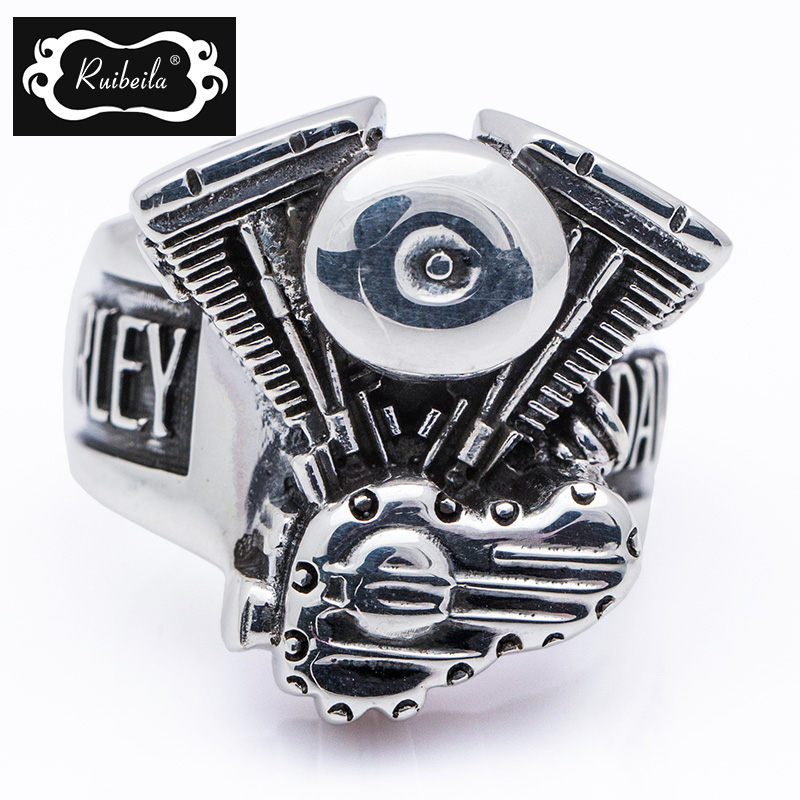 Ruibeila925 silver harley engine silver rings for men ring finger ring influx of thick atmosphere