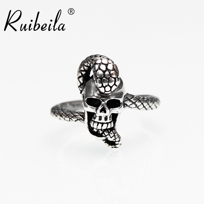 Ruibeila925 silver snake around small skull punk retro thai silver ring ring ring male and female models personality