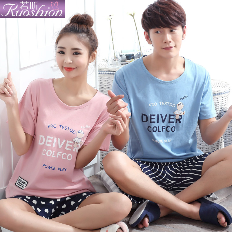 Ruoxin couple pajamas 2016 new spring and summer short sleeve cotton tracksuit cute cartoon pajamas for men and women suit