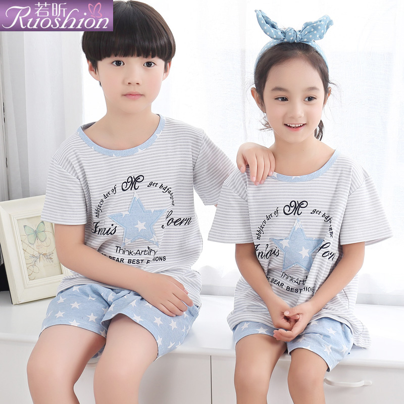Ruoxin summer 2016 children's pajamas short sleeve boys and girls little girl cotton paternity suit children tracksuit
