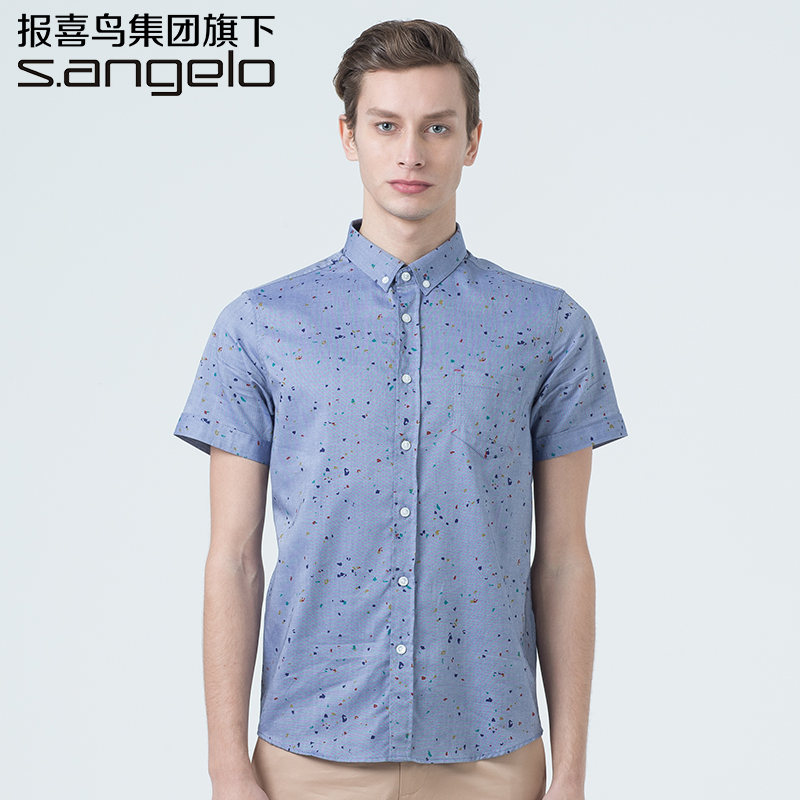 S. angelo/st. st. lo · jie jie luo 2016 summer short sleeve shirt men casual cotton shirt youth Male