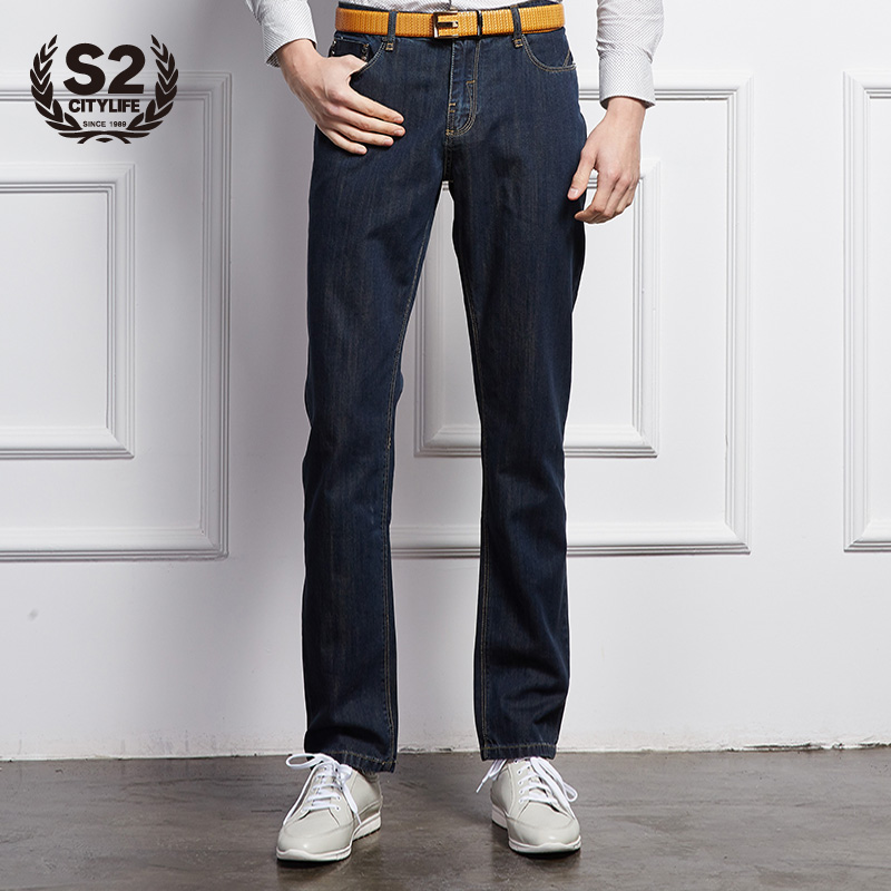 S2citylife2015 spring fashion casual and simple blue men's jeans slim straight men korean version of trousers
