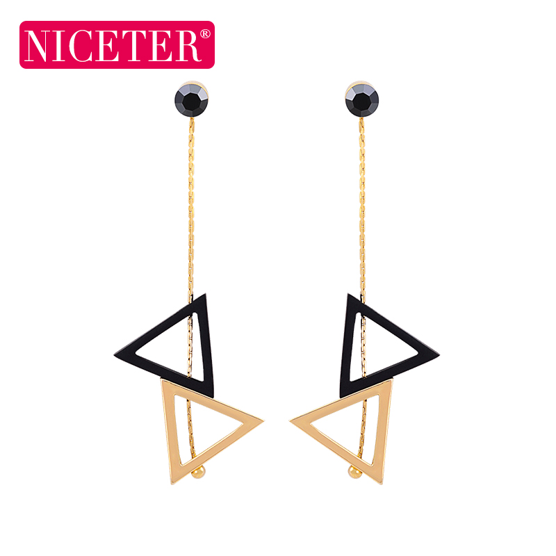 S925 silver needle korea triangle earrings female long section of personality and temperament earrings hypoallergenic earrings simple personality