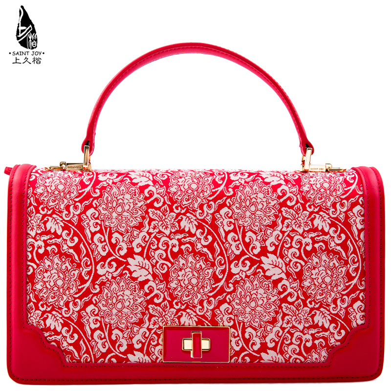 Saintjoy/female leather handbag ms. long song jin kai on red beige interlocking pattern. pink