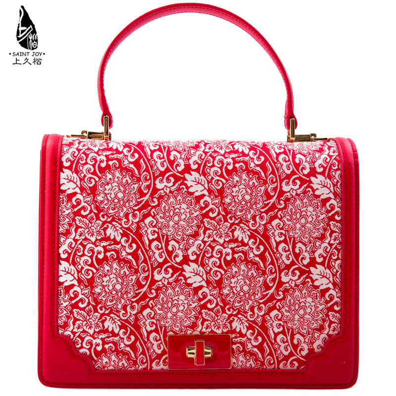 Saintjoy/ms. bag 2016 new song jin kai on long red leather beige interlocking pattern. red