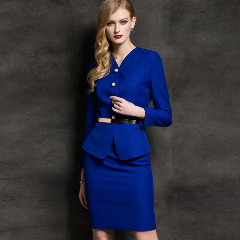 Sale of autumn ladies wear fashion suits suit slim temperament blue is fitted long sleeve skirt suit
