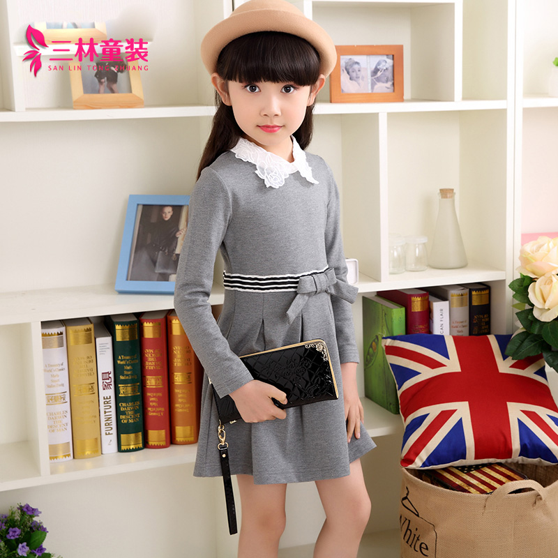 Salim kids girls dress 2016 spring and autumn new children's skirt princess dress korean version of a solid color long sleeve girls