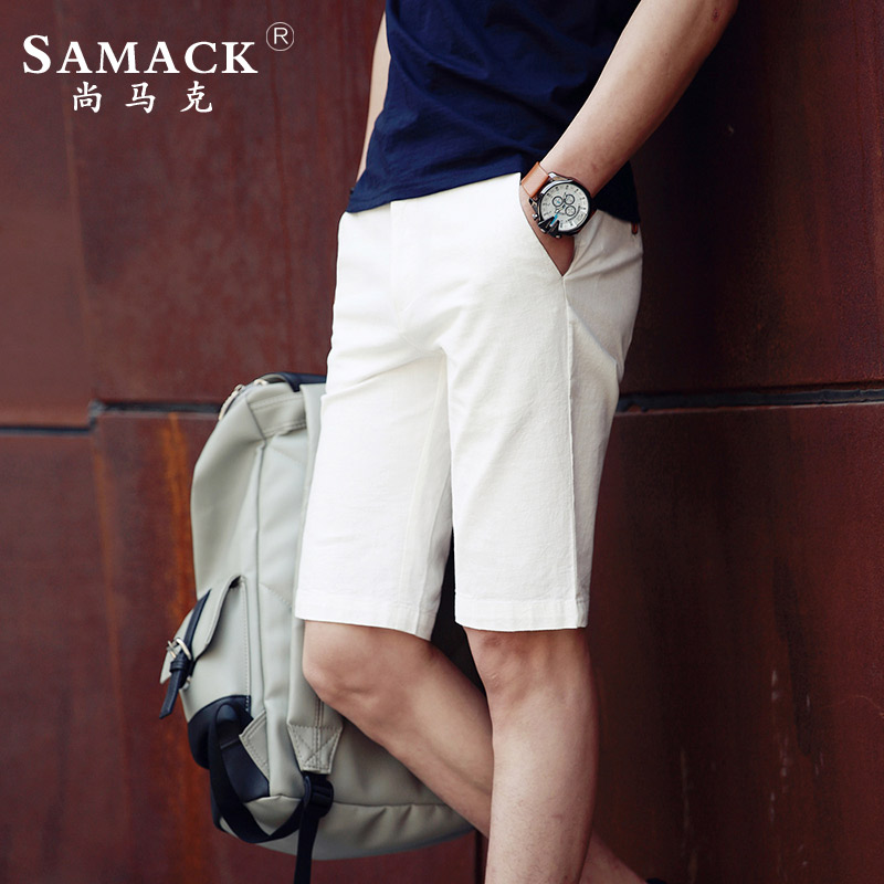 Samack/still mark 2016 summer new solid color men's casual pants large size five pants thin section trousers