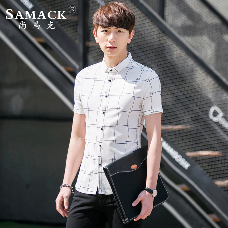 Samack/still mark men's plaid short sleeve shirt 2016 summer new thin section of young casual men's shirt