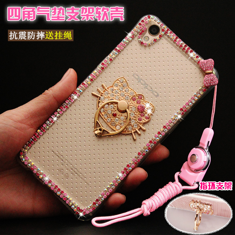 Samsung a9 phone shell mobile phone ring bracket a9pr  o a9000 rhinestones female whole package drop resistance silicone protective sleeve lanyard female