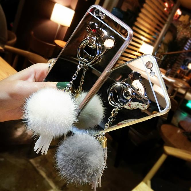Samsung note4 phone shell mobile phone sets of silicone phone shell mirror female note5 Note7 luxurious mink fur ball tassels