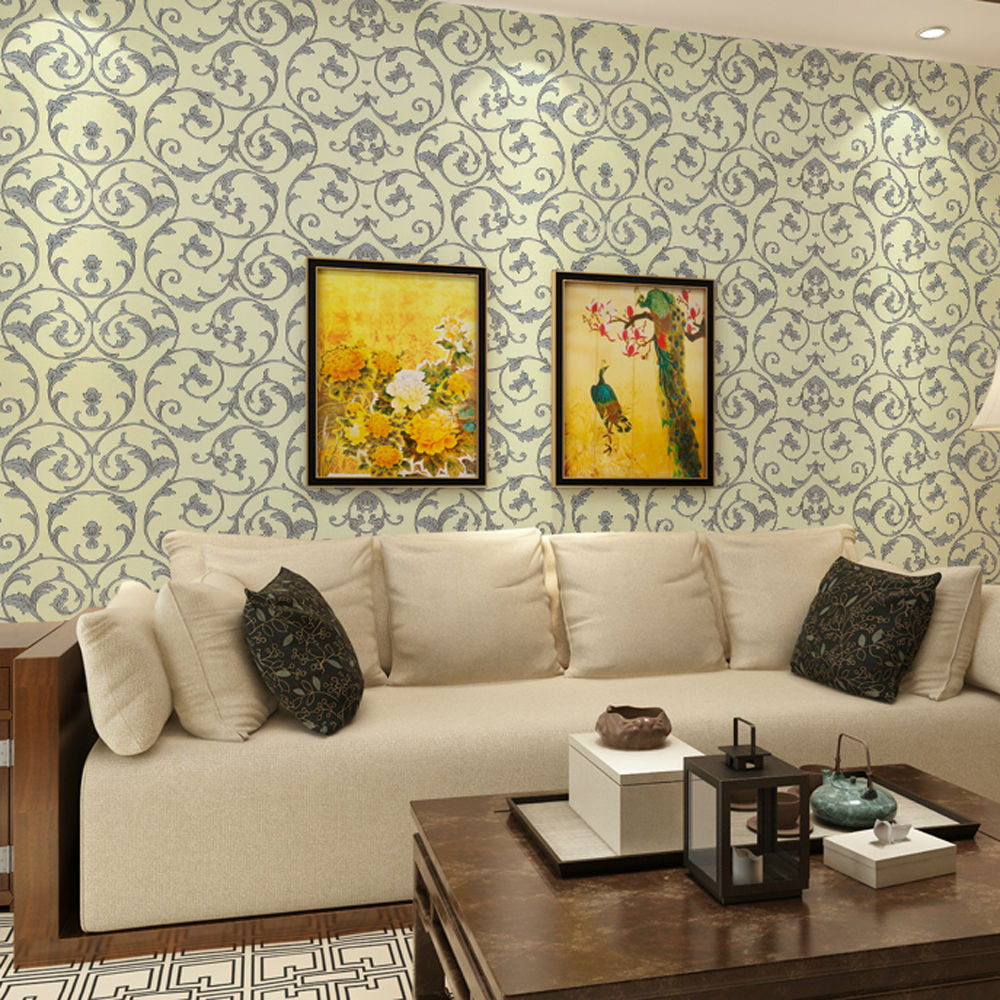 Sanhe pvc adhesive 10 m long yellow wallpaper wallpaper paste directly attached to the transformation of 2057 at the end of european flower shipping