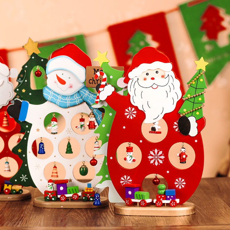 Santa claus christmas snowman christmas decorations christmas woodiness ligneous mini desktop ornaments gift shop window ornaments