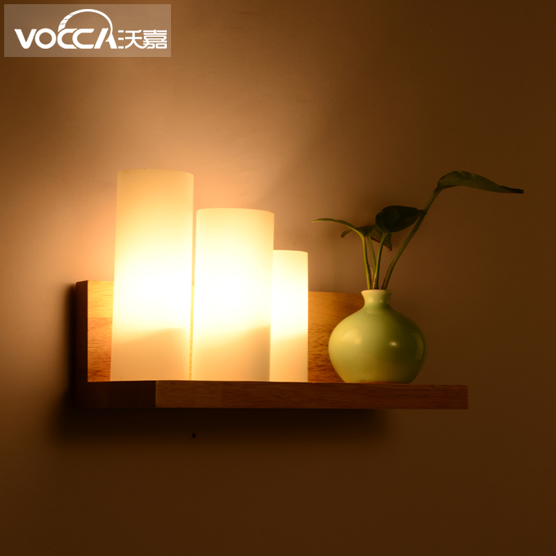 Scandinavian minimalist american minimalist bedroom bedside lamp creative personality of modern wood wall lamp led wall lamp aisle lights