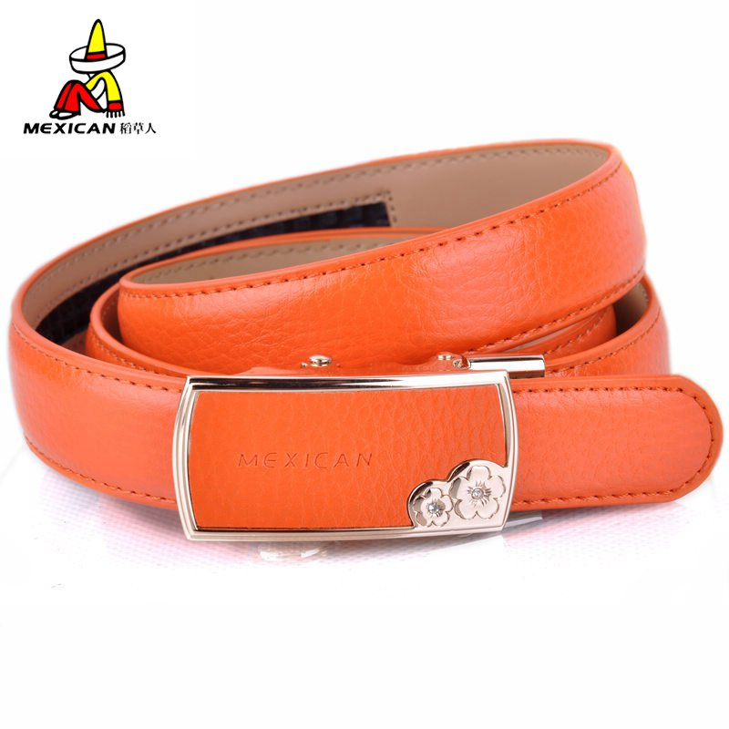Ya Jin Womens Candy Color Dress Belt PU Leather Belt with Gold Pin Buckle