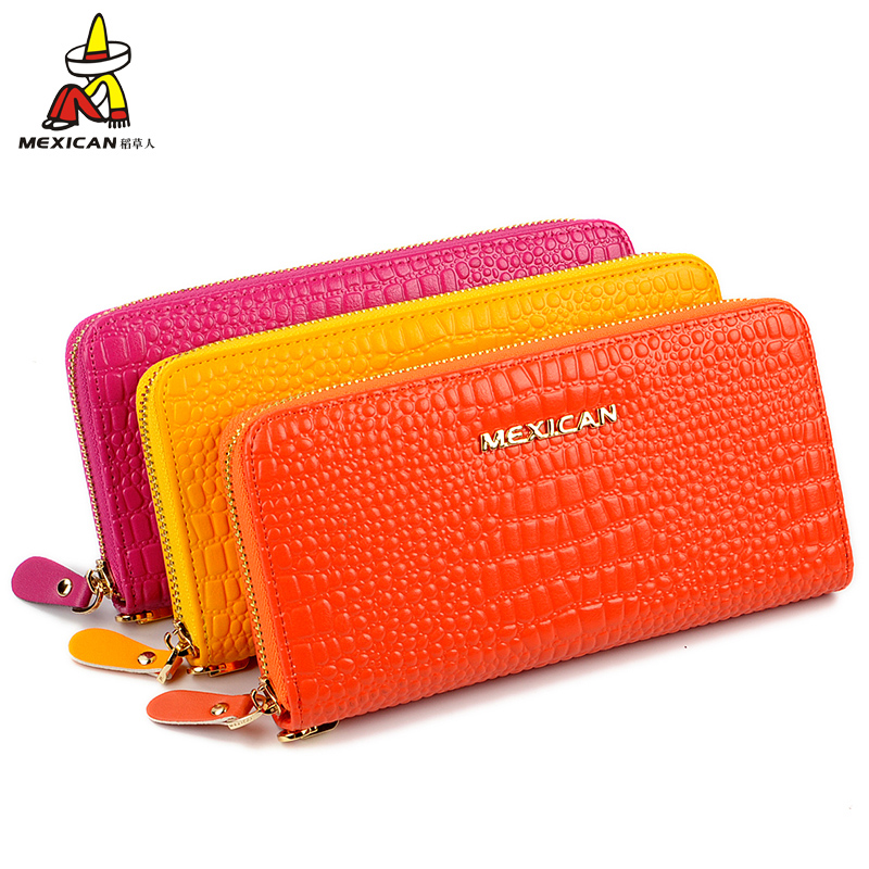 Scarecrow wallet female long section of zipper leather clutch handbag 2016 new korean version of the influx of leather ladies wallet