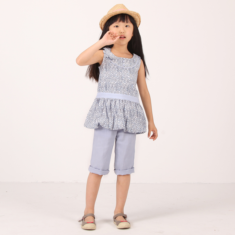 Scenery childrenwear 2015 summer children vest skirt big virgin cotton floral dress shirt for girls free shipping