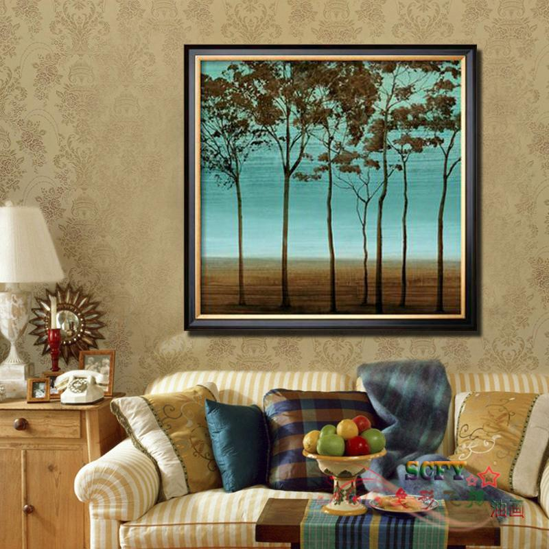 Scfy pure hand painted oil painting modern fashion decorative painting the living room entrance framed mural paintings continental 12