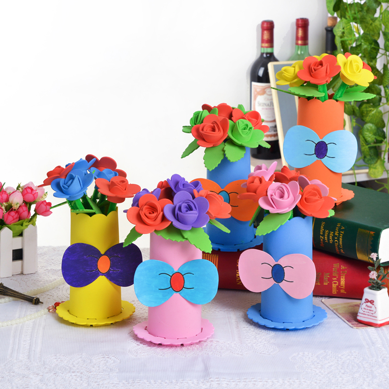School children eva diy handmade creative baskets pots potted flower pots avoid cutting handmade flowers holiday baskets