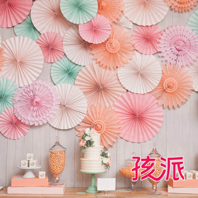 School children party supplies birthday party garland decorated and furnished snowflake paper fan 20 cm monochrome