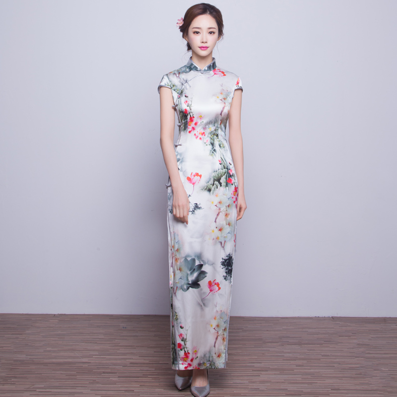 Sciascia 2016 new heavy silk double silk improved cheongsam dress retro ms. slim long paragraph silk cheongsam