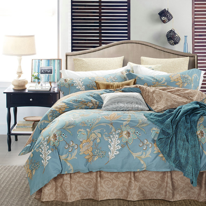 Sea pure reactive printing and dyeing cotton denim textile pastoral style cotton bedding a family of four sets of 4