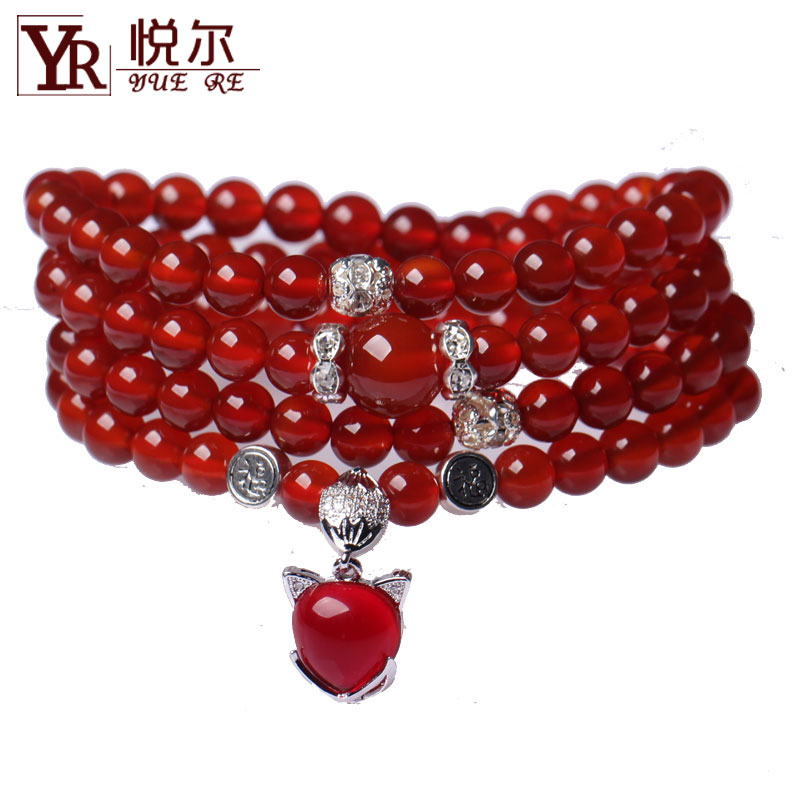 Sealed air颗ram genuine opening of natural red agate 108 silver fox female prayer beads bracelet multilayer bracelets