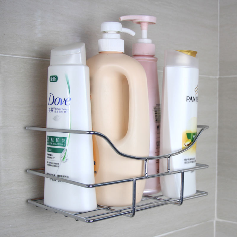 Seamless stainless steel bathroom shelf bath products kitchen powerful suction toilet bathroom storage rack angle bracket wall