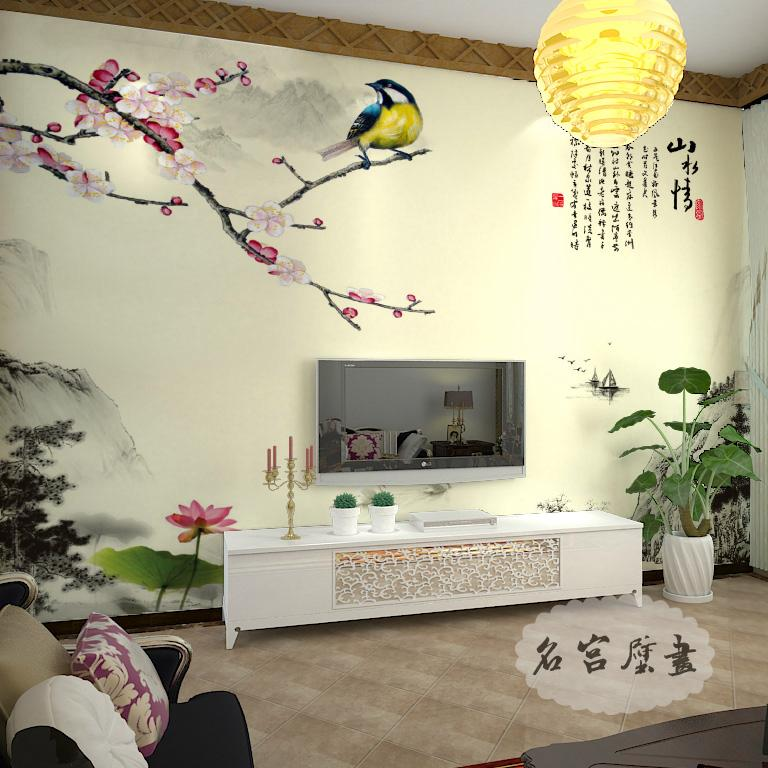 Seamless wall covering living room tv background wallpaper wallpaper mural of chinese wovens sha hair covering landscape love