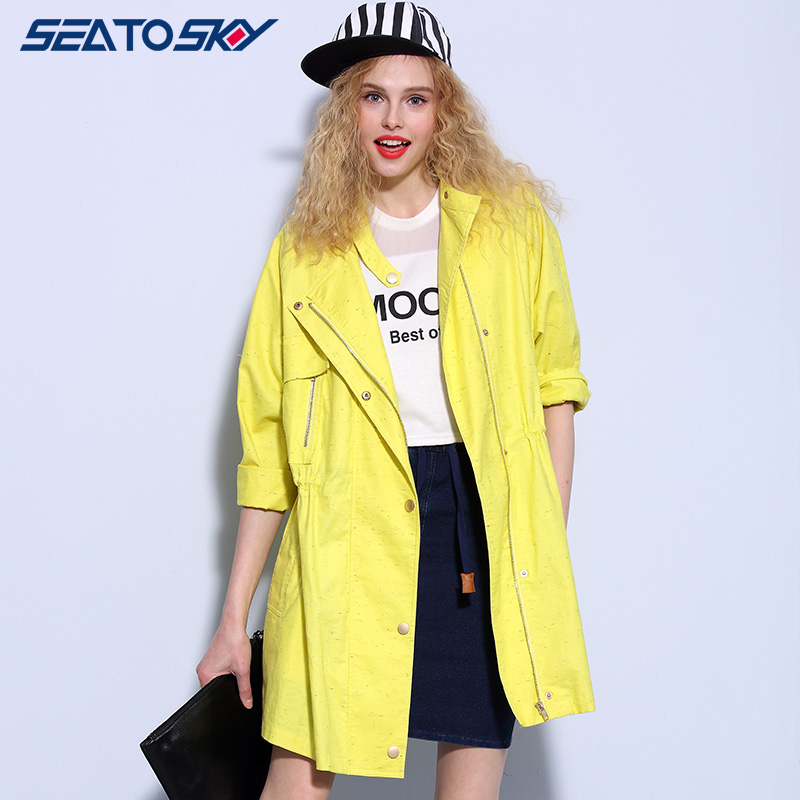 Seatosky 2015 spring and autumn cocoon coat and long sections sleeved windbreaker women in europe and america fan EID383D230
