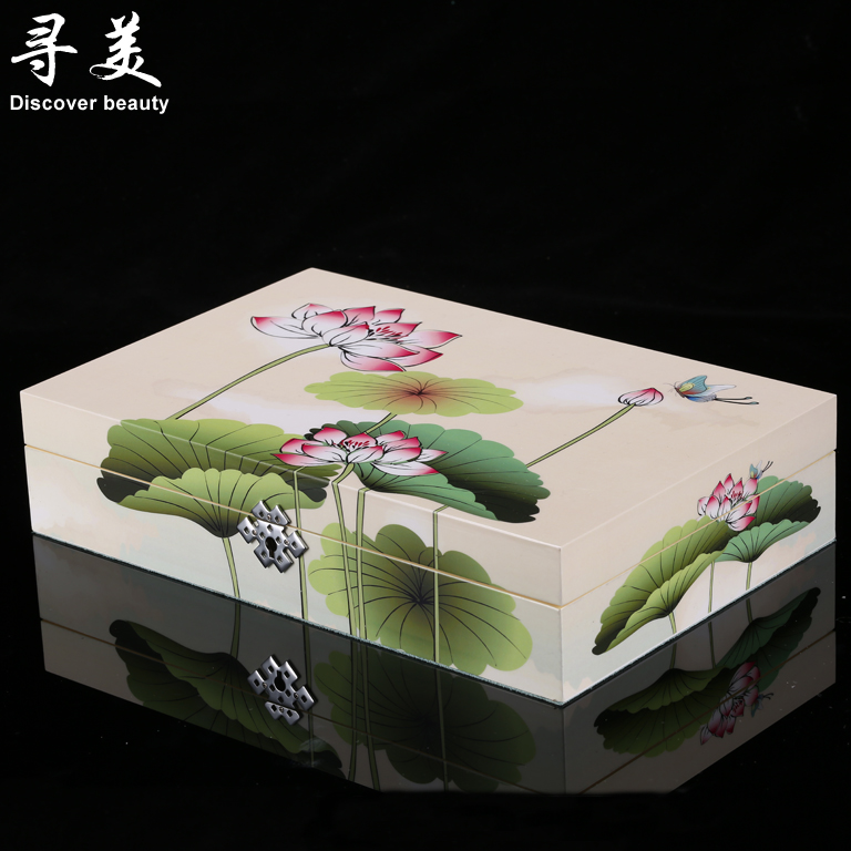 Seeking us shipping chinese lotus retro white piano lacquer jewelry box dressing box cosmetic box watch box jewelry box