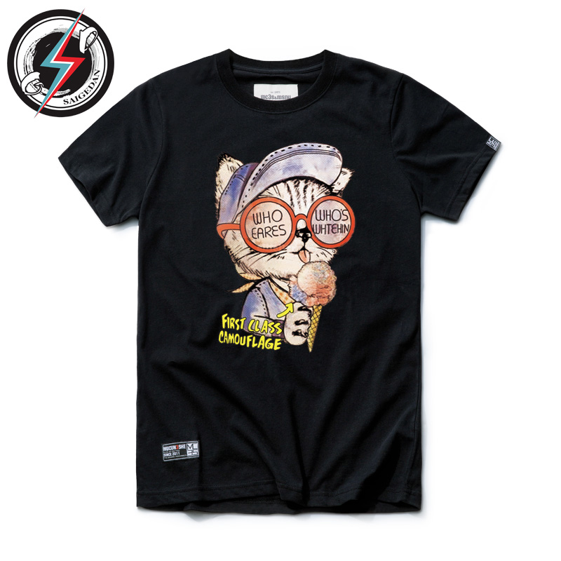 Seg dan cat printing summer new trend of japanese cotton short sleeve t-shirt lovers t-shirts for men and women personality spoof