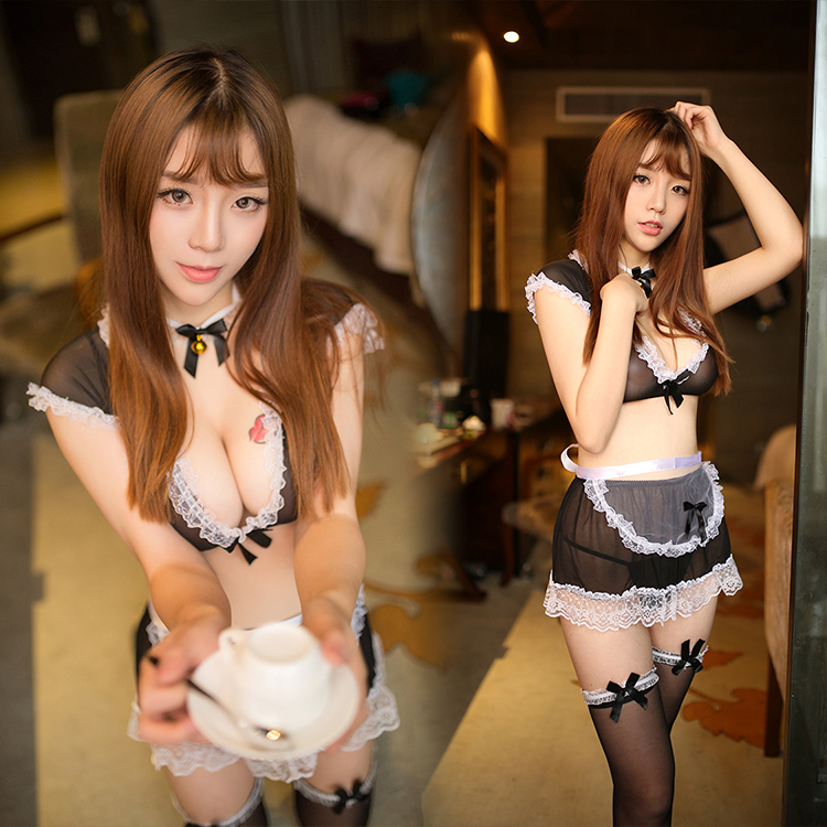 Selebritee sexy lingerie lovely maid outfit maid uniform temptation transparent pajamas suit big yards