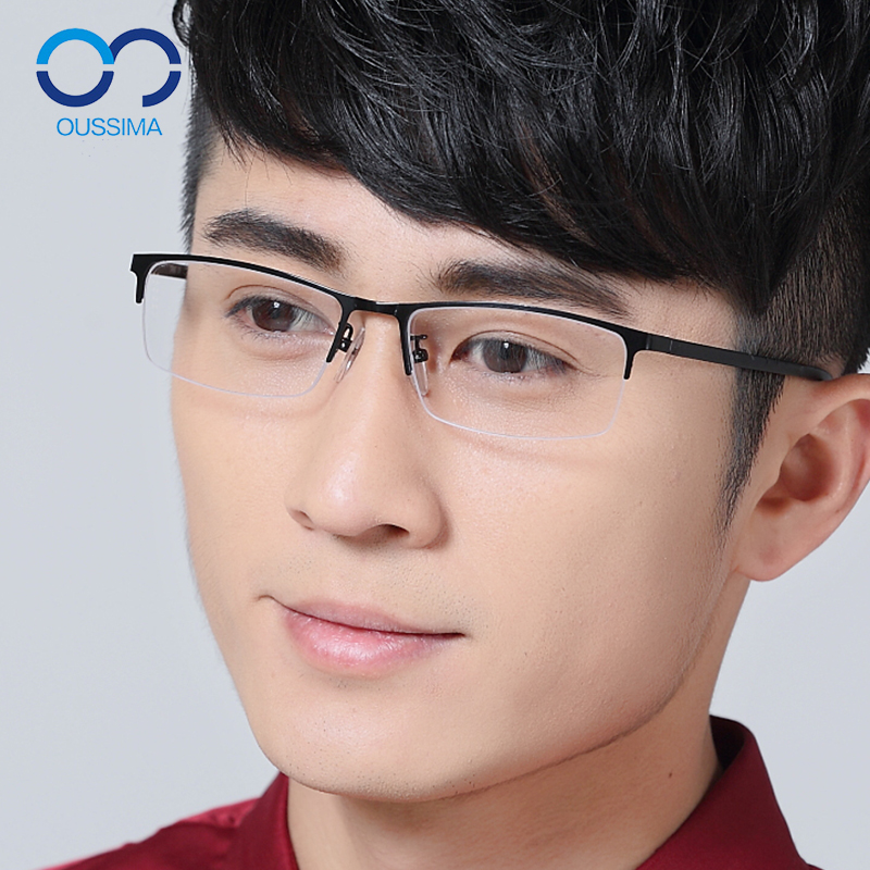 2a0a896c3190 Get Quotations · Semi rimless frames myopia male half frame titanium  business with glasses frames myopia myopia finished 901