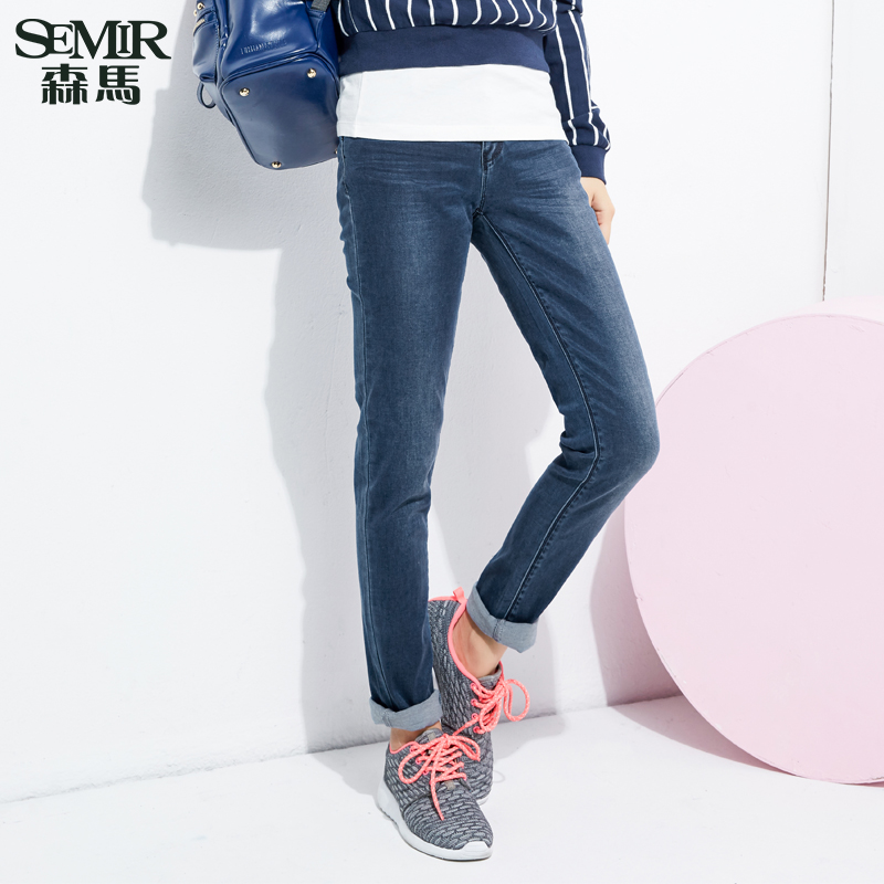 Semir 2016 spring new korean ladies low waist washed jeans slim was thin denim long pants
