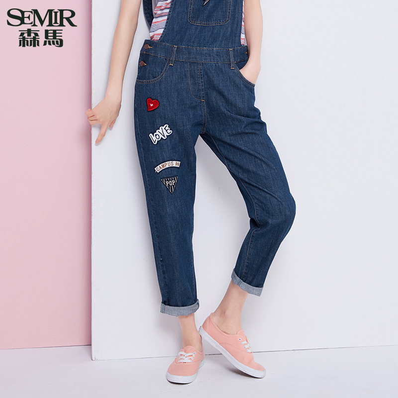 Semir 2016 summer new ms. low waist washed jeans alphabet cotton overalls denim trousers tide
