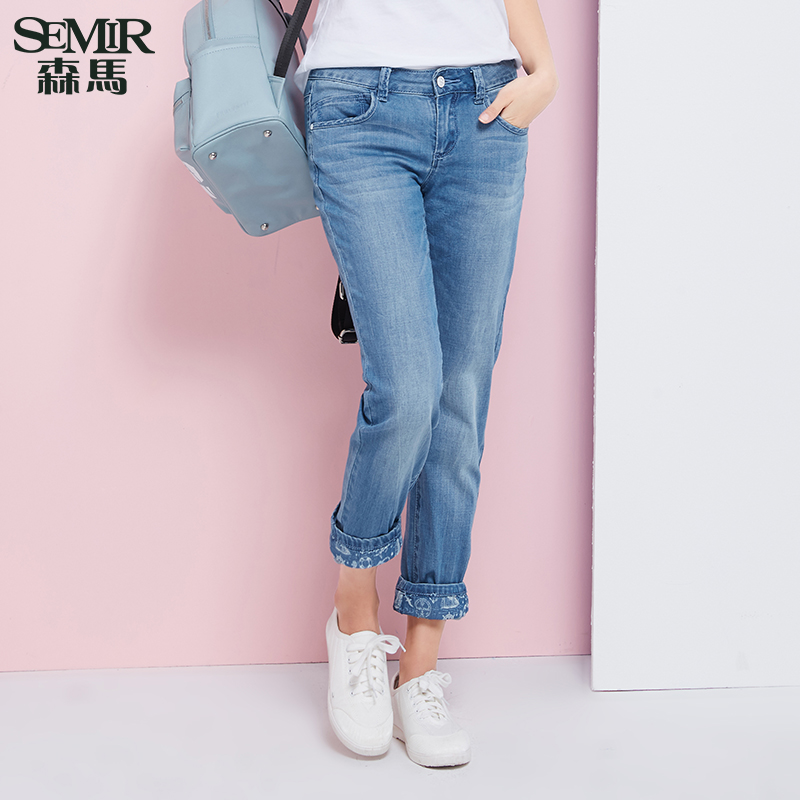 Semir men's jeans low waist was thin 2016 summer new ladies small straight denim long pants korean tidal